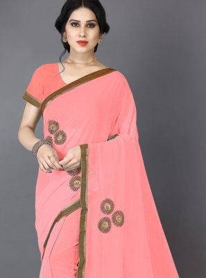 Embroidered Faux Chiffon Saree in Pink