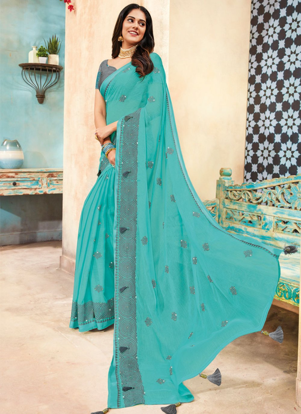 Embroidered Faux Chiffon Traditional Designer Saree in Navy Blue