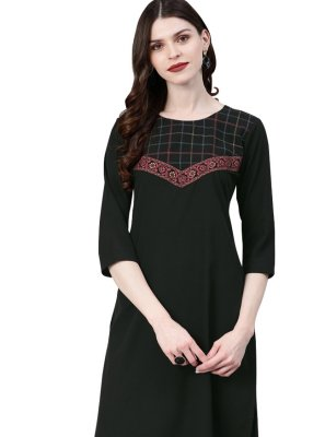 Embroidered Faux Crepe Black Casual Kurti