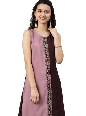 Embroidered Faux Crepe Casual Kurti