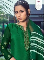 Embroidered Faux Crepe Designer Pakistani Salwar Suit in Green