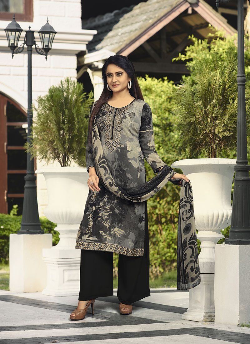 Embroidered Faux Crepe Designer Salwar Kameez in Black and Grey
