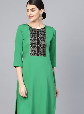 Embroidered Faux Crepe Sea Green Casual Kurti