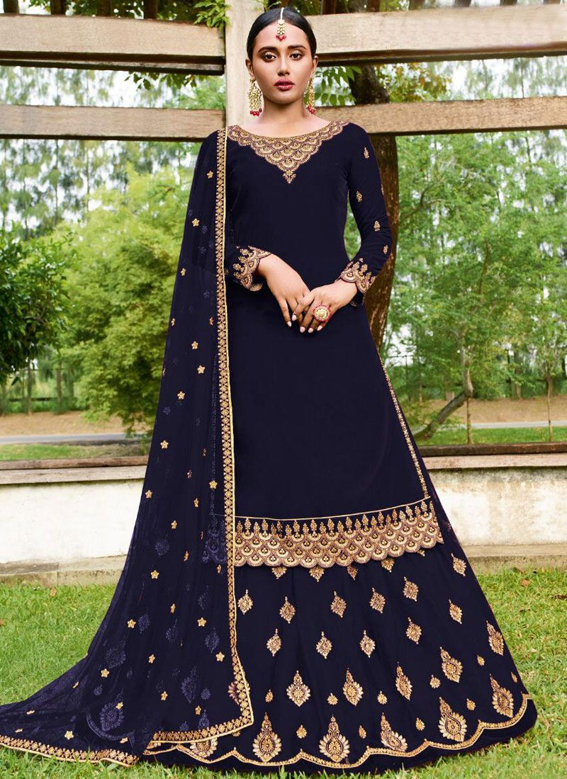Embroidered Faux Georgette A Line Lehenga Choli in Navy Blue