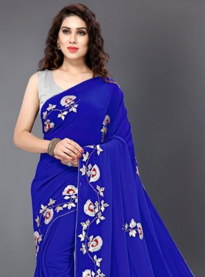 Embroidered Faux Georgette Blue Designer Saree