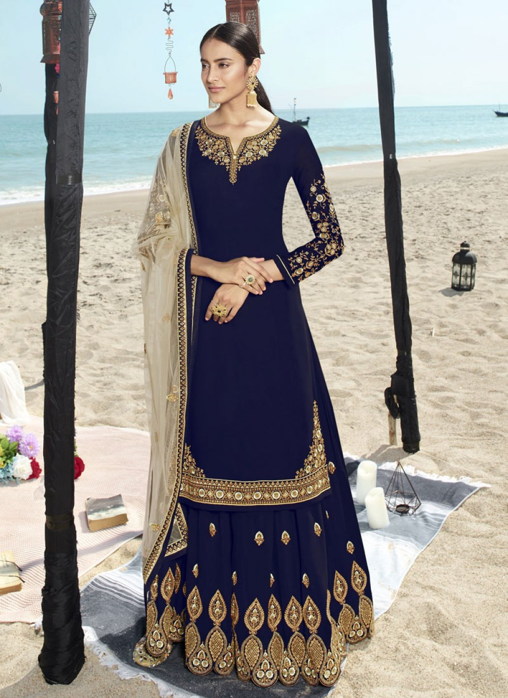 Embroidered Faux Georgette Blue Salwar Suit