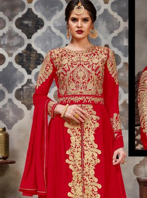Embroidered Faux Georgette Bollywood Salwar Kameez