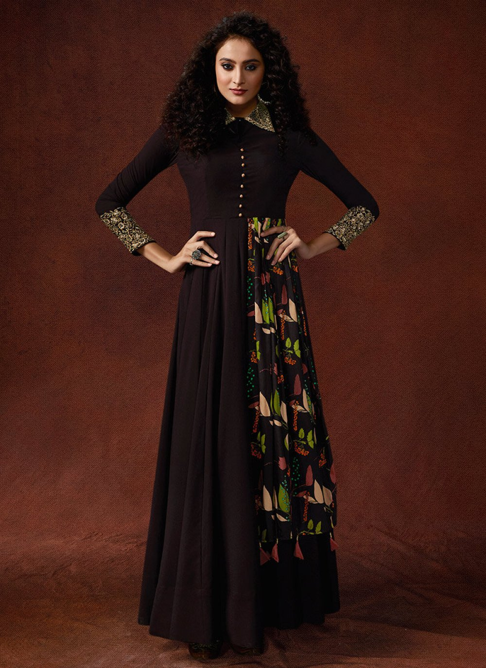 Embroidered Faux Georgette Brown Designer Gown