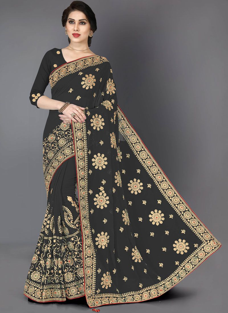 Embroidered Faux Georgette Casual Saree in Black