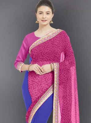 Embroidered Faux Georgette Casual Saree in Pink