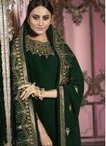 Embroidered Faux Georgette Churidar Salwar Kameez in Green