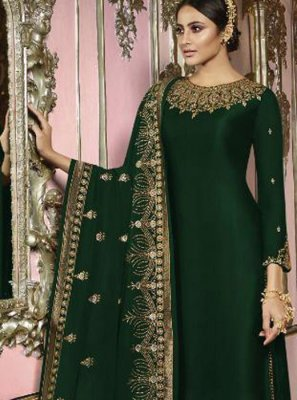 Embroidered Faux Georgette Churidar Salwar Kameez in Green