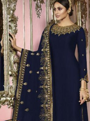 Embroidered Faux Georgette Churidar Salwar Suit in Navy Blue