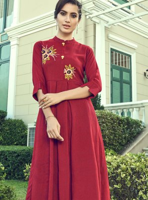 Embroidered Faux Georgette Designer Palazzo Salwar Kameez in Red