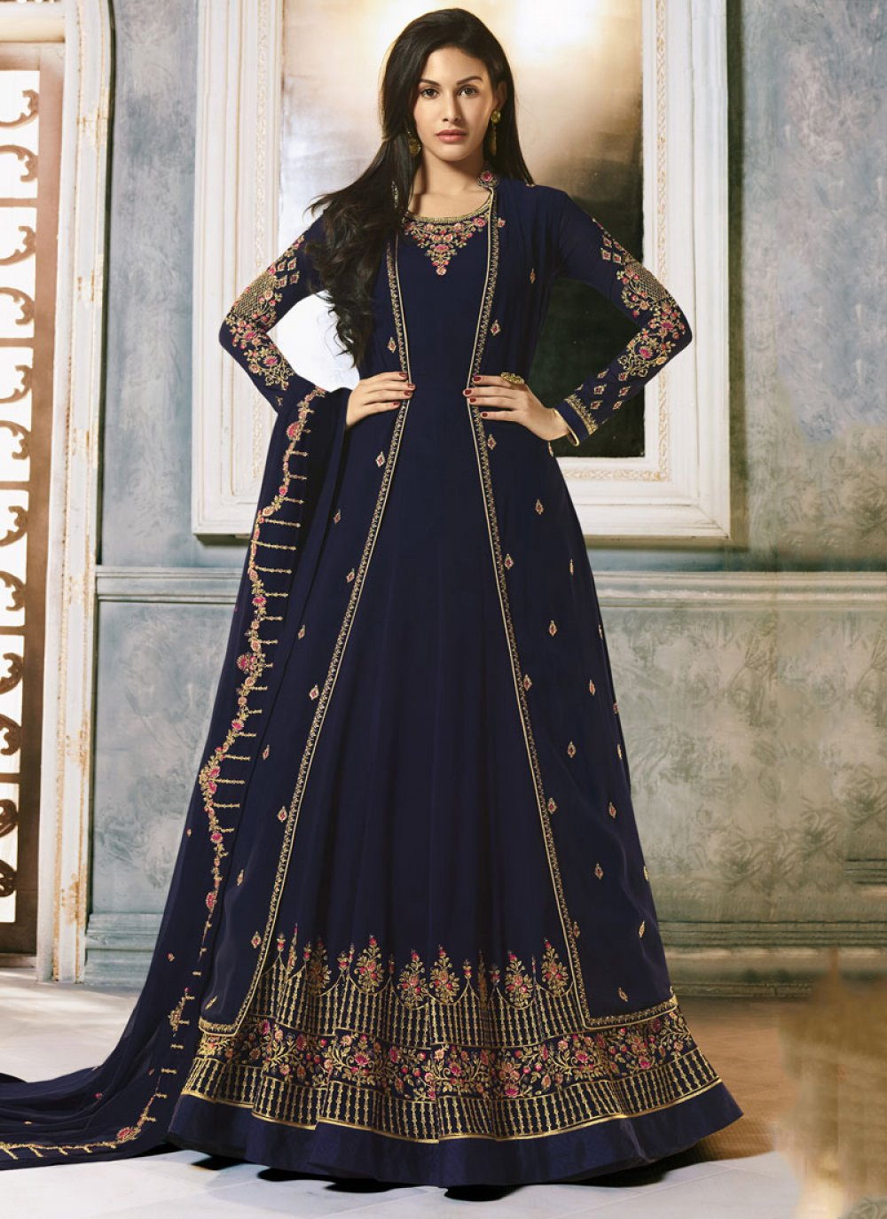 Embroidered Faux Georgette Designer Salwar Suit in Blue