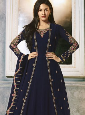 Embroidered Faux Georgette Designer Salwar Suit in Blue