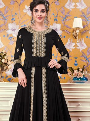 Embroidered Faux Georgette Floor Length Trendy Gown