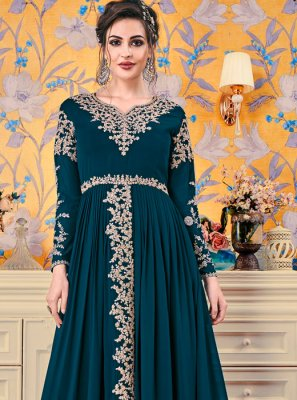 Embroidered Faux Georgette Floor Length Trendy Gown in Teal