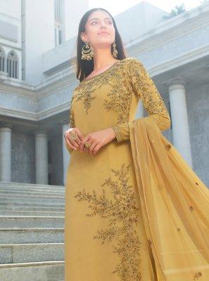Embroidered Faux Georgette Gold Designer Salwar Suit