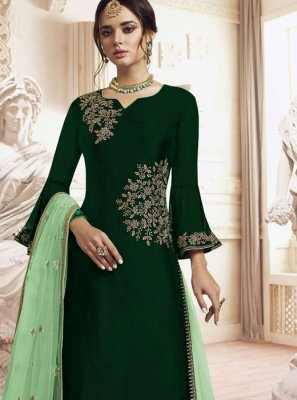 Embroidered Faux Georgette Green Trendy Palazzo Salwar Kameez