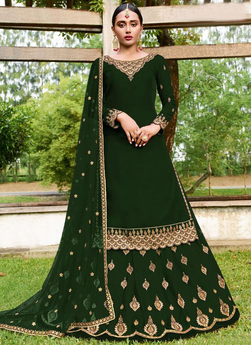 Embroidered Faux Georgette Lehenga Choli in Green