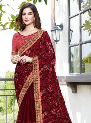 Embroidered Faux Georgette Maroon Designer Traditional Saree