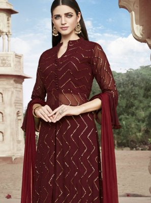 Embroidered Faux Georgette Maroon Readymade Suit