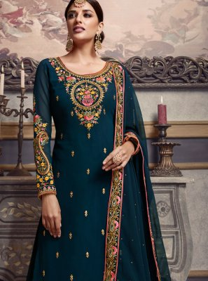 Embroidered Faux Georgette Palazzo Salwar Kameez