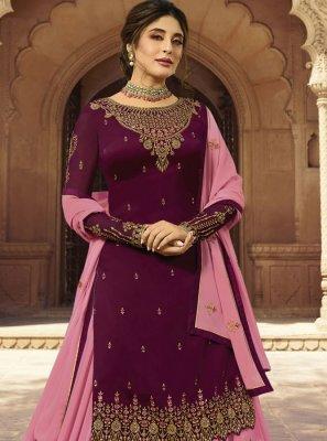 Embroidered Faux Georgette Purple Designer Lehenga Choli