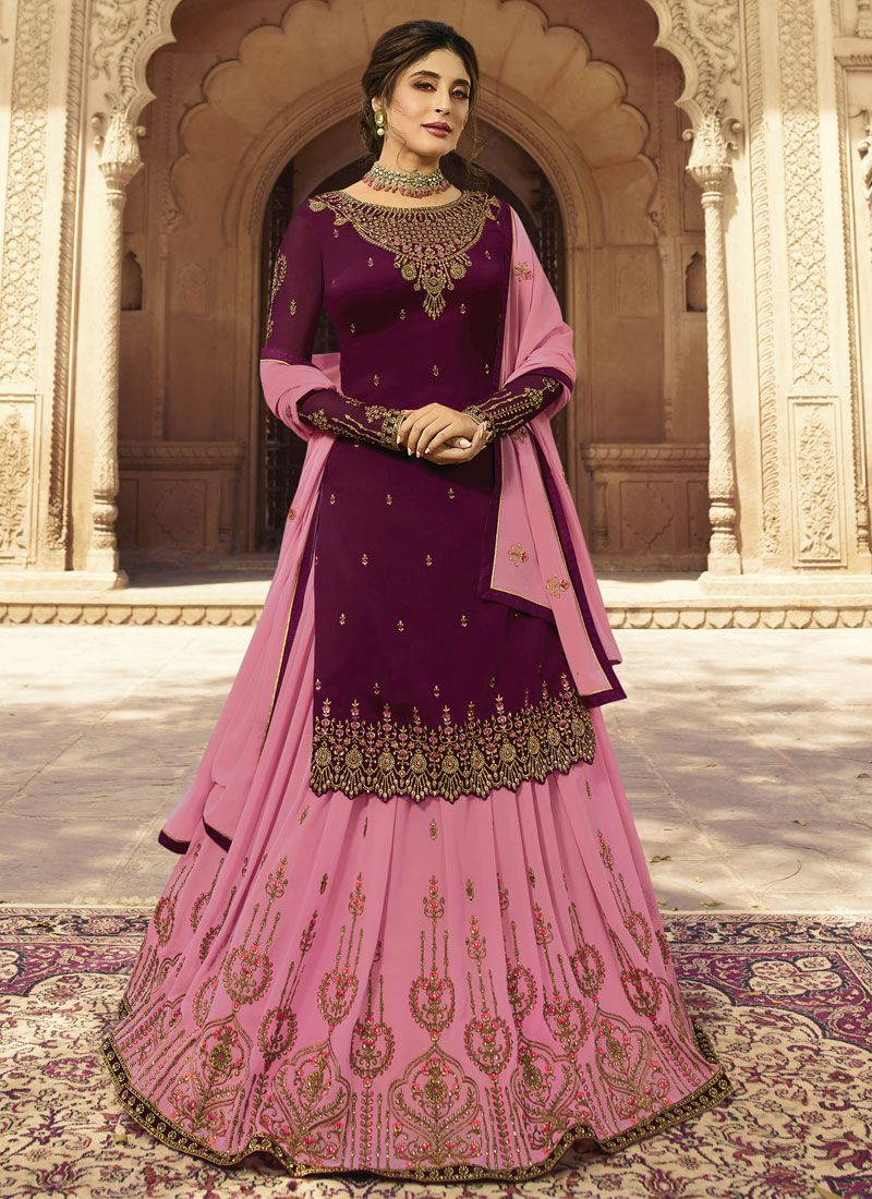 Embroidered Faux Georgette Purple Designer Lehenga Choli