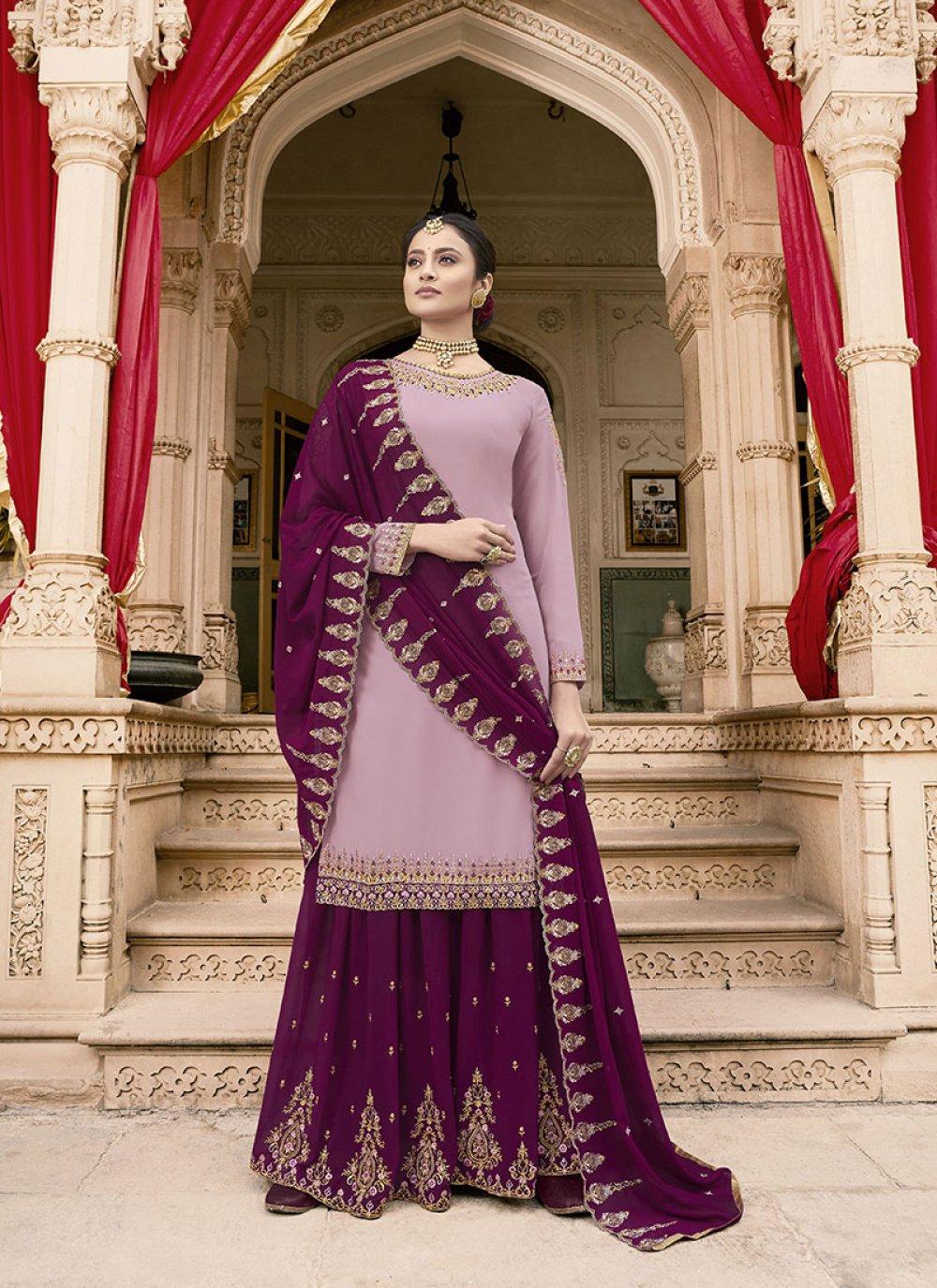 Embroidered Faux Georgette Purple Designer Pakistani Suit