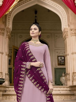 Embroidered Faux Georgette Purple Designer Pakistani Suit