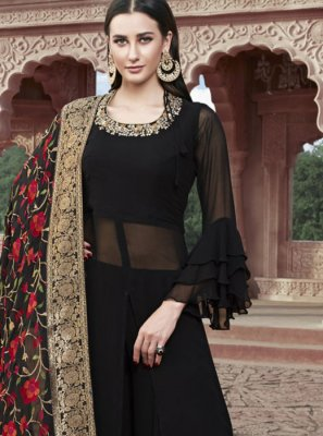 Embroidered Faux Georgette Readymade Suit