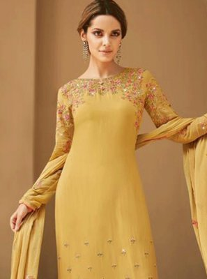 Embroidered Faux Georgette Salwar Kameez in Mustard