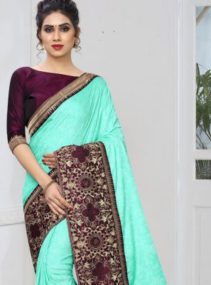 Embroidered Faux Georgette Traditional Designer Saree in Blue