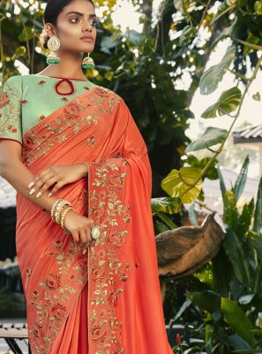 Embroidered Faux Georgette Traditional Saree in Peach