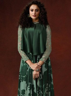 Embroidered Faux Georgette Trendy Gown