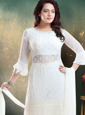 Embroidered Faux Georgette Trendy Palazzo Salwar Kameez