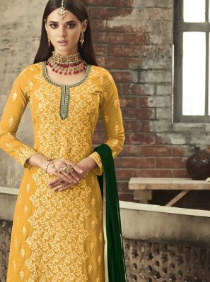 Embroidered Faux Georgette Trendy Palazzo Salwar Suit