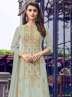 Embroidered Faux Georgette Trendy Salwar Kameez in Green