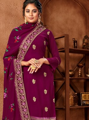 Embroidered Faux Georgette Trendy Salwar Suit in Maroon