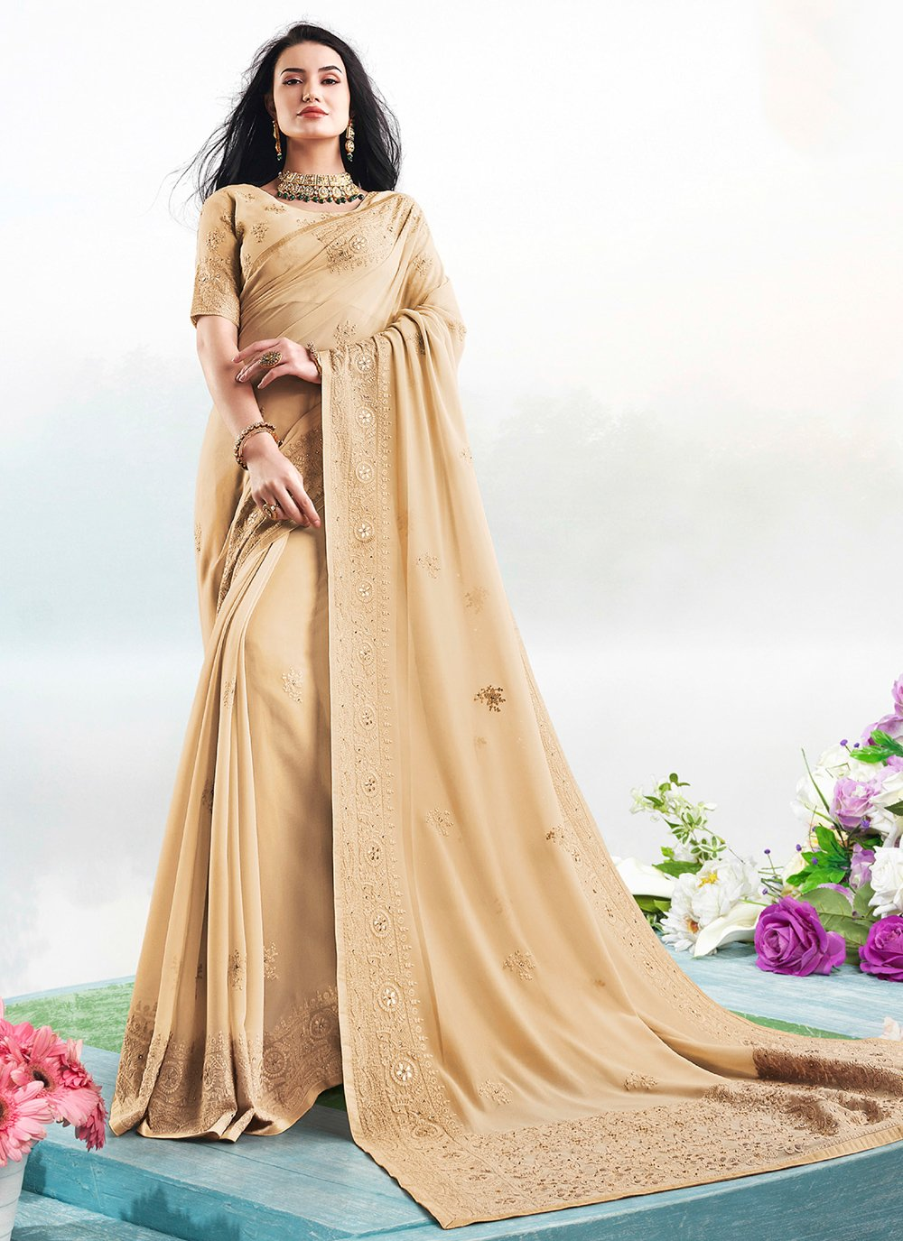 Embroidered Faux Georgette Trendy Saree in Brown
