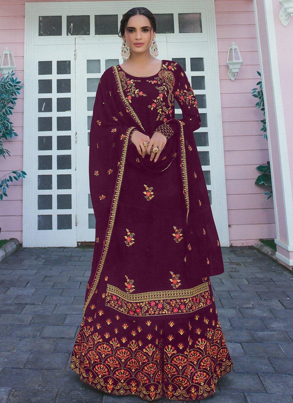 Embroidered Faux Georgette Wine Bollywood Salwar Kameez