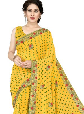 Embroidered Faux Georgette Yellow Casual Saree