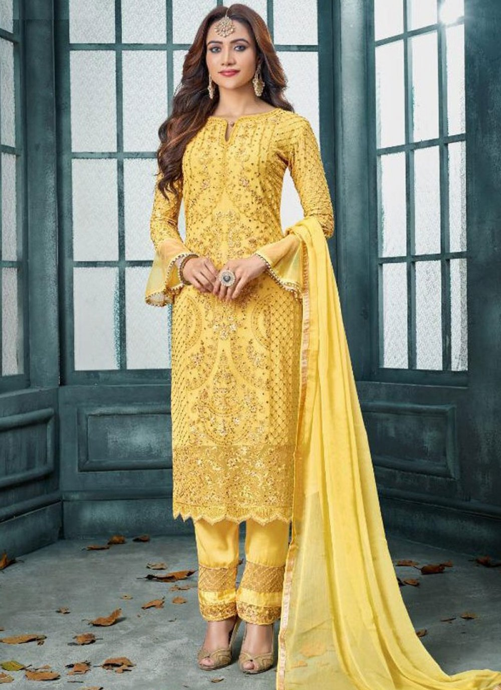 Embroidered Faux Georgette Yellow Designer Salwar Kameez