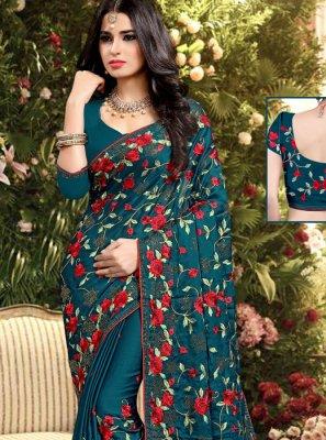 Embroidered Firozi Silk Designer Saree