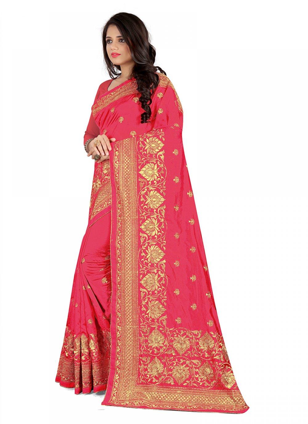 Embroidered Fuchsia Art Silk Silk Saree