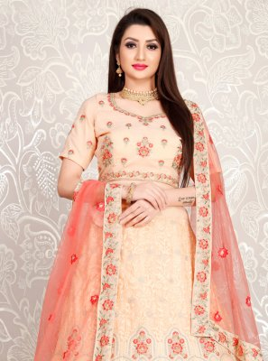Embroidered Georgette A Line Lehenga Choli