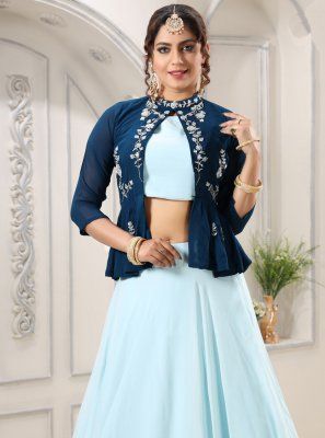 Embroidered Georgette Aqua Blue Designer Lehenga Choli