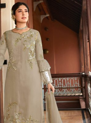 Embroidered Georgette Beige Salwar Kameez